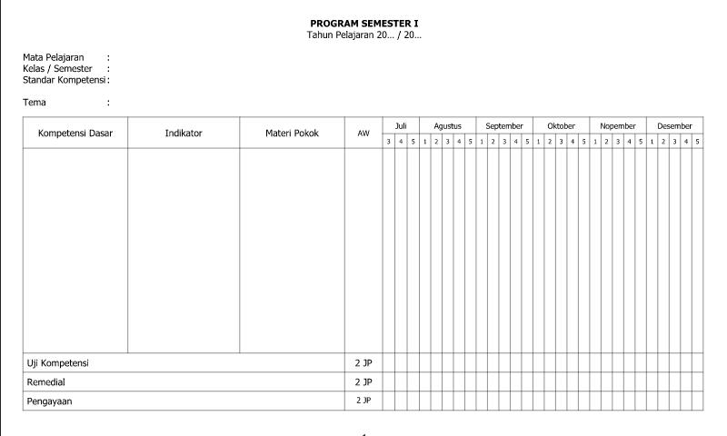 Referensi Contoh Program Semester I Lembar 2 untuk Administrasi Guru Wali Kelas