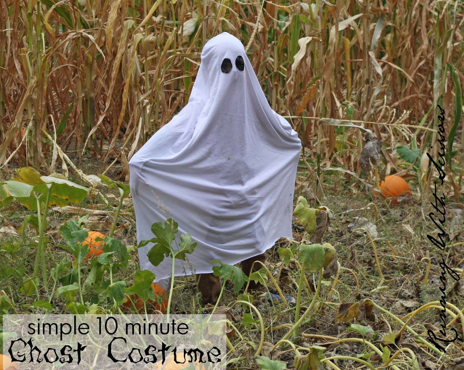 This summer when I started sewing again my son RJ started asking for a ghost costume and pulled out any white fabric from my stash. & Running With Scissors: Easy DIY Ghost Costume