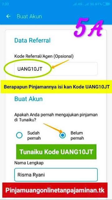 Pinjaman uang online tanpa jaminan Bayar bulanan di Tunaiku dengan Kode Agen UANG10JT