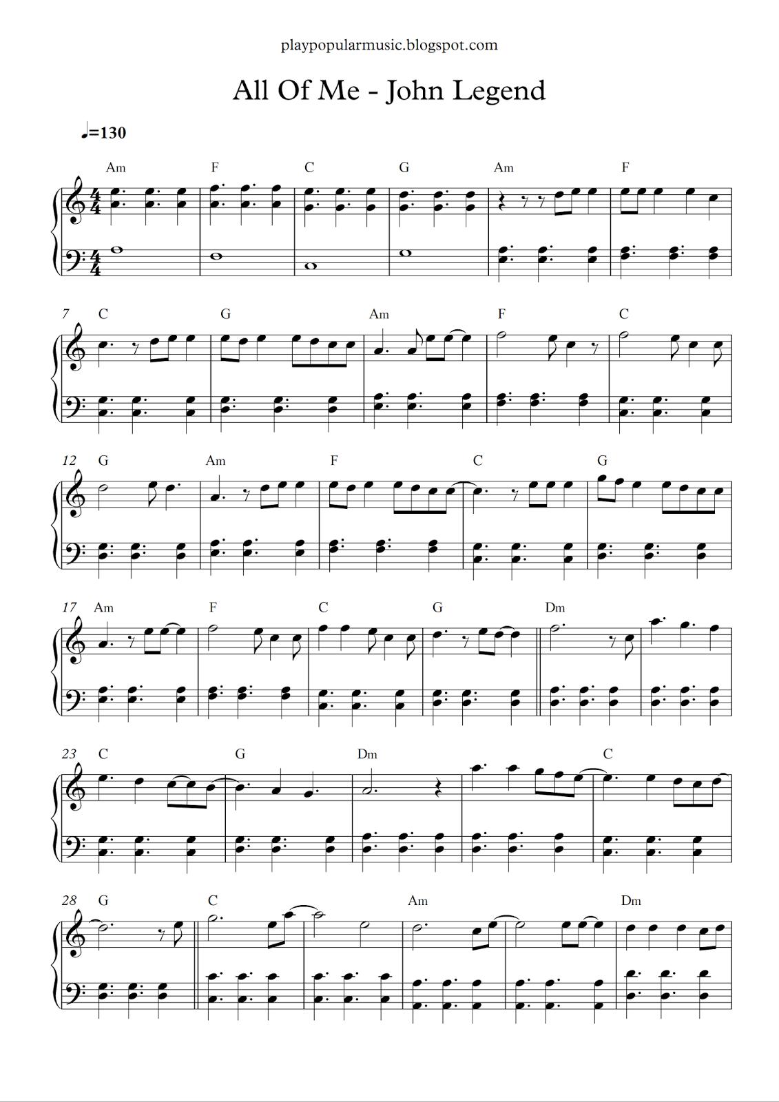 play popular music: All Of Me - John Legend