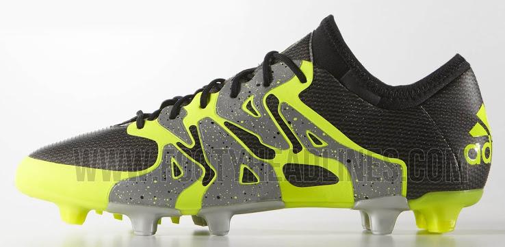 newest 896ac bb7dd Billige Messi Adidas X 15.1 Fotballsko Kunstgress Black Iron Metallic Solar  Gul
