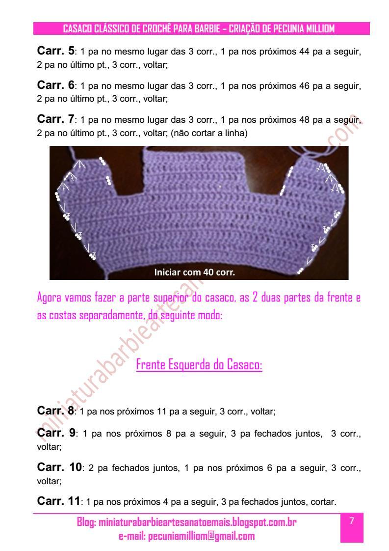 Casaco Clássico de Crochê Para Boneca Barbie Passo a Passo pag. 7