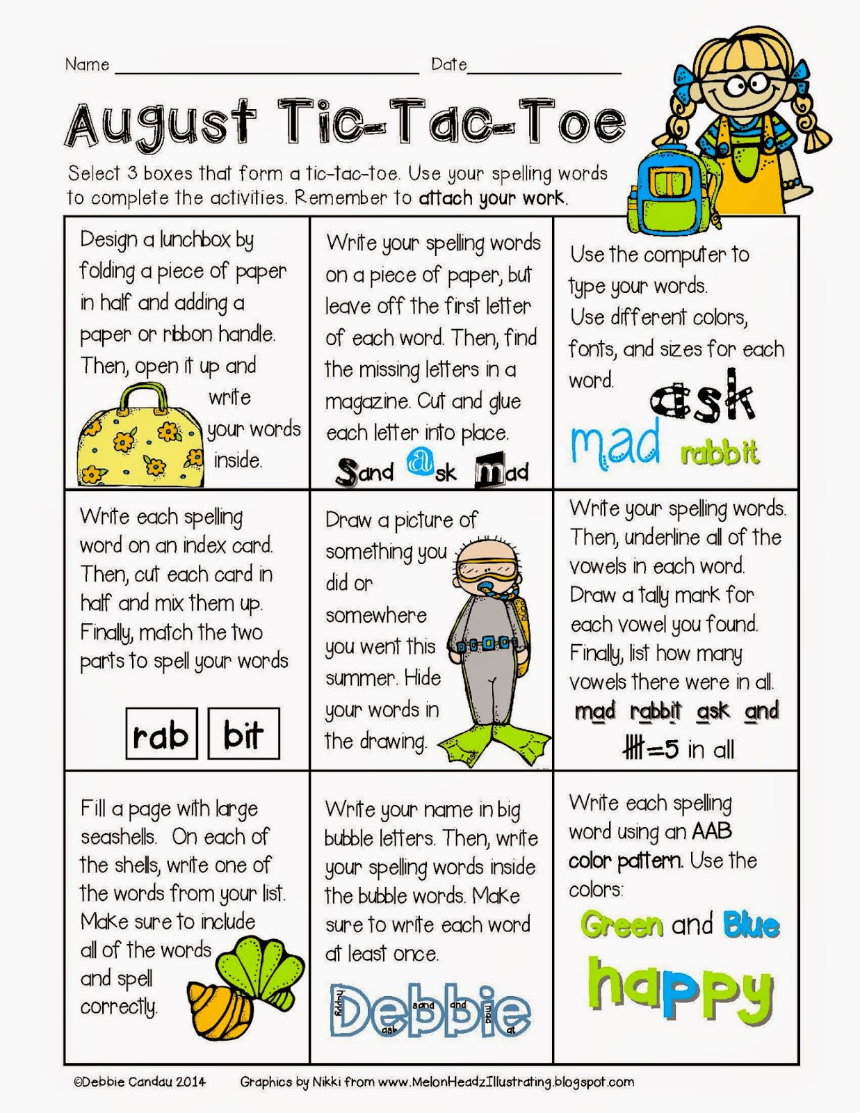 Sailing Through 1st Grade August Spelling Tic Tac Toe