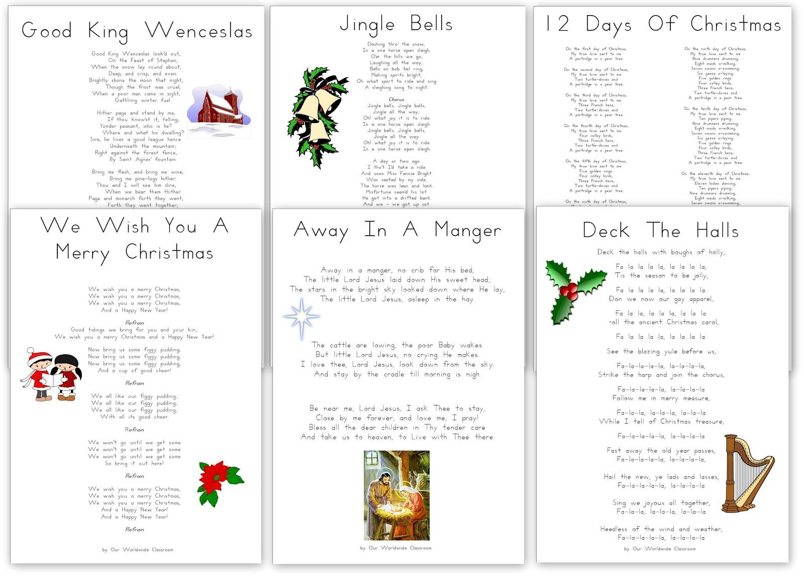 Christmas Carol Printable: Free Printable Christmas Carols And Songs