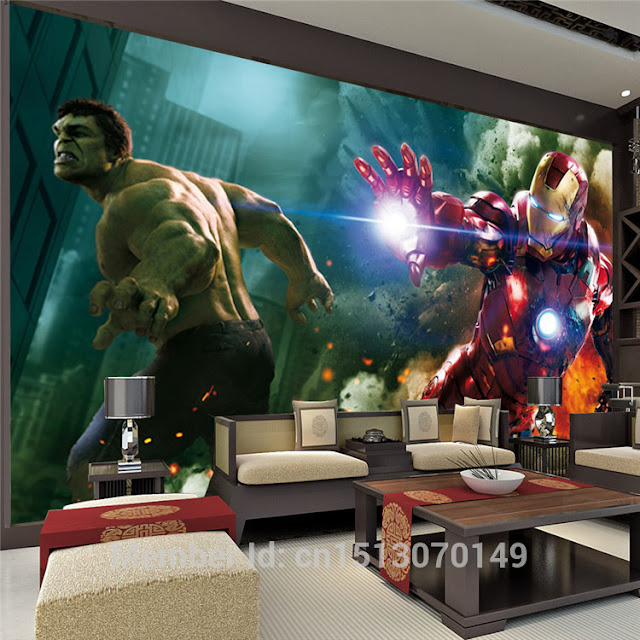 Avengers wall mural childrens room 3D marvel comics bedroom Photo Wallpaper Kids Boys super hero avengers movie hulk ironman