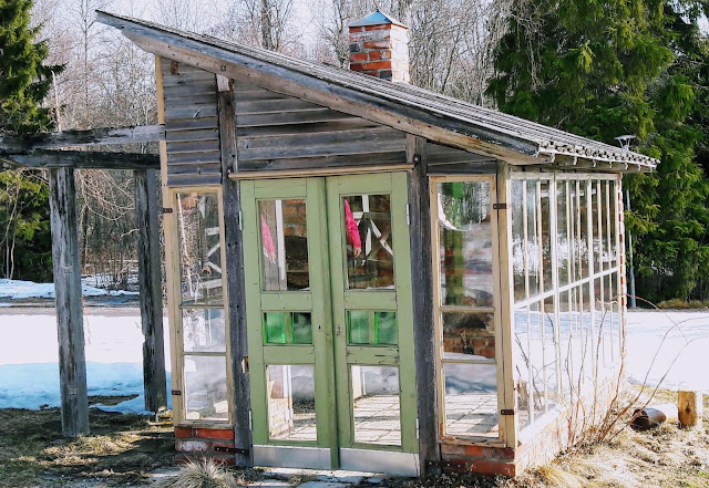 Garden cottage made from old windows