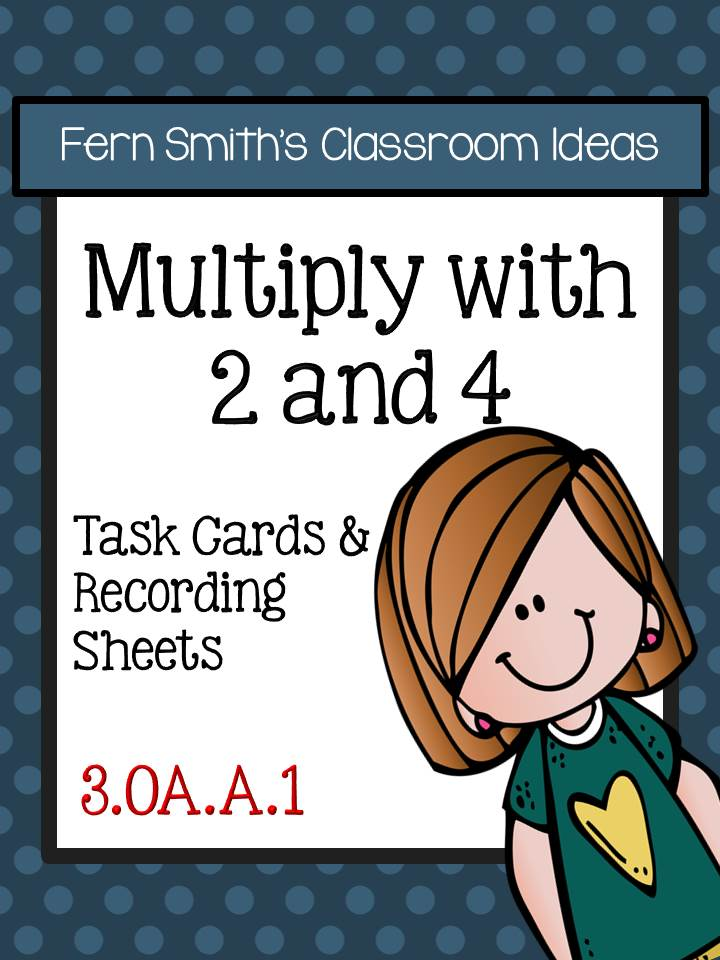 Multiply with 2 and 4 Task Cards and Recording Sheets 3.OA.A.1
