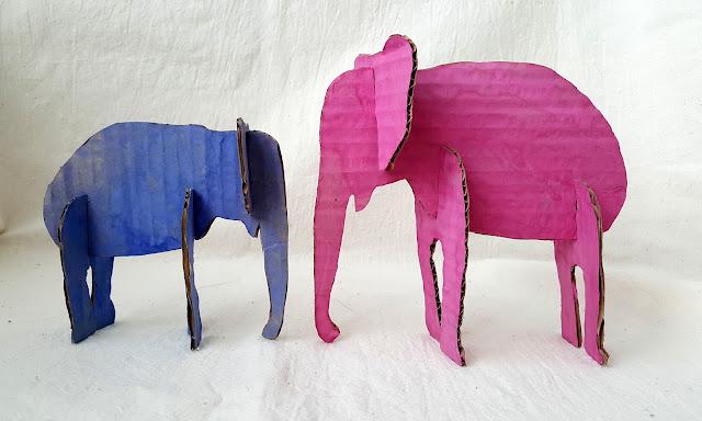 слоны, объёмные фигурки, 3-д