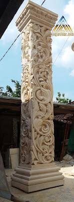 pilar ukir batu alam paras jogja / batu putih