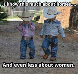 Two funny children cowboys meme joke picture