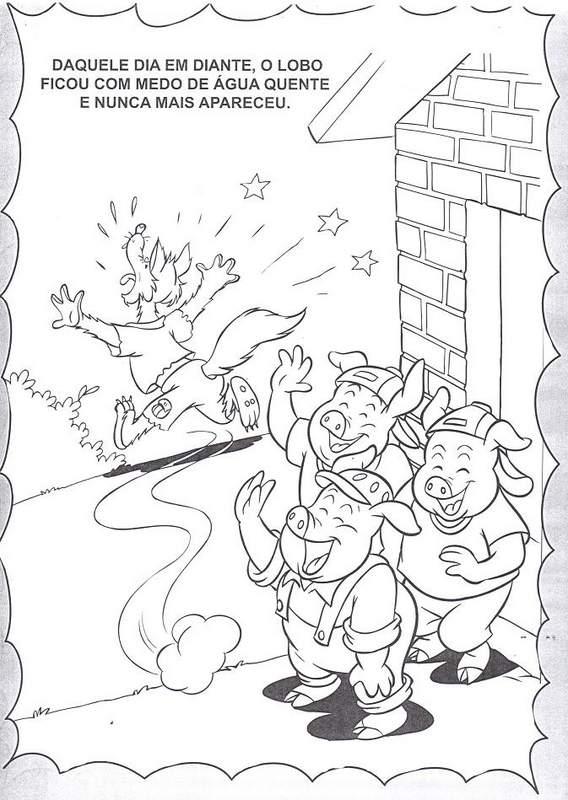 História dos Três Porquinhos para colorir