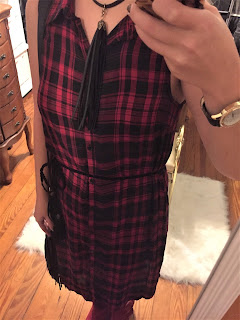 plaid shirt dress ootd