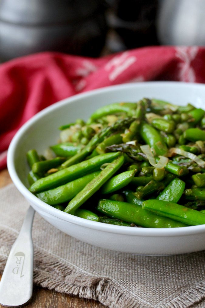 Asparagus, Pea, & Leek Stir-Fry with two types of peas