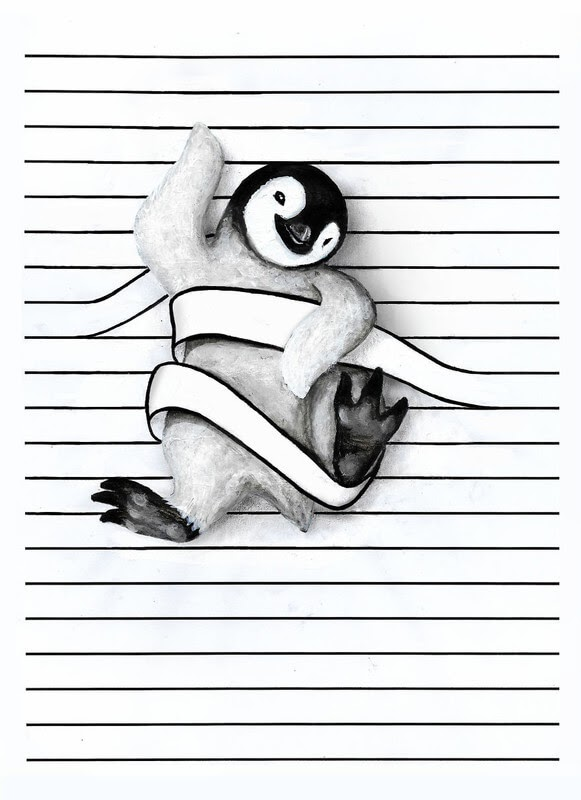 10-The-Penguin-Iantha-Naicker-Drawing-of-Lines-and-Animals-www-designstack-co