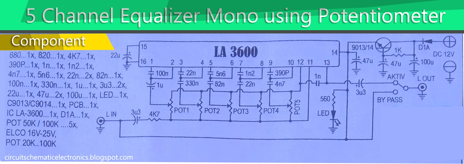 5 Channel Equalizer Using IC LA3600 - Electronic Circuit