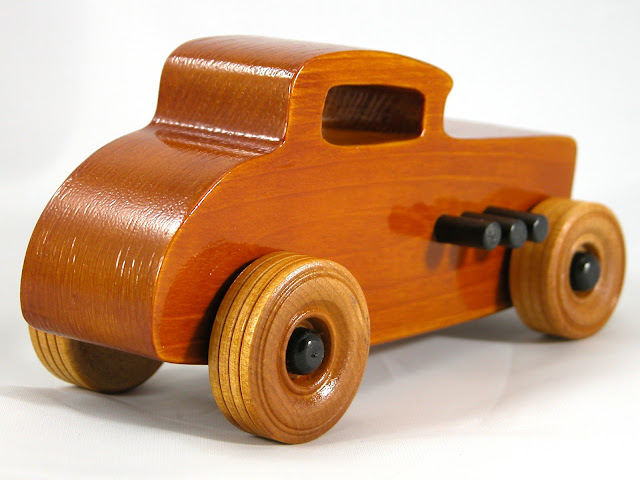 Right Rear - Wood Toy Cars - Wooden Cars - Wood Toys - Wooden Car - Wood Toy Car - Hot Rod - 1932 Ford - 32 Deuce Coupe - Little Deuce Coupe - Roadster - Race Car
