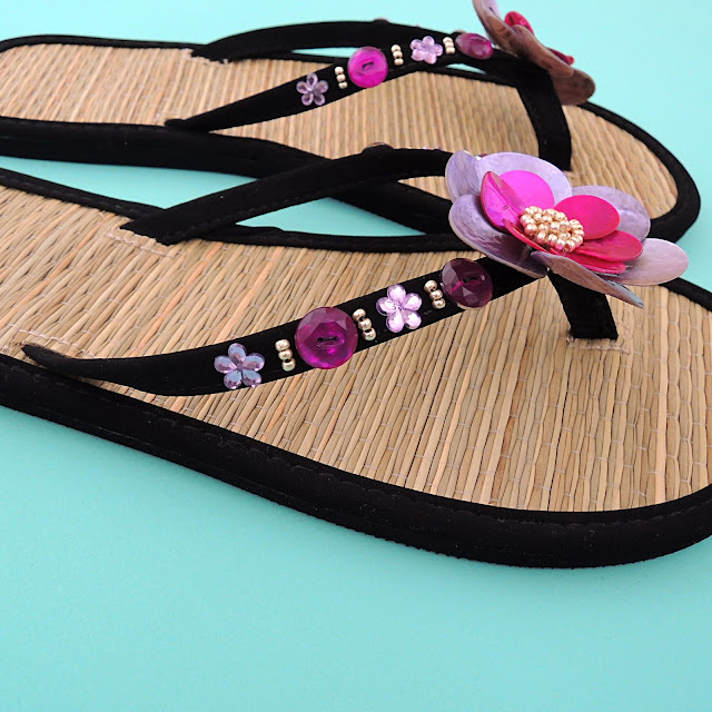 Shell flower flip flops tutorial