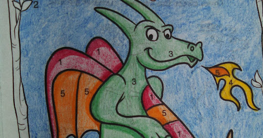 Fire Breathing Dragon Adult Coloring Classic Kids Color by Number