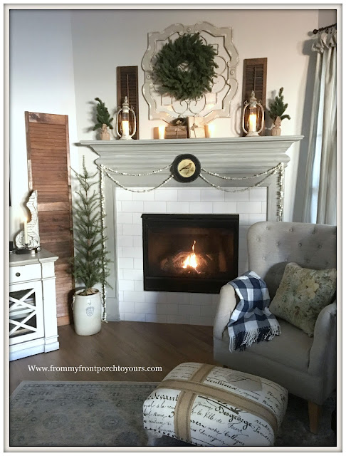 Winter Mantel-French Country-Farmhouse-French Ottoman-Chimney Lanterns-Buffalo Check blanket-From My Front Porch To Yours