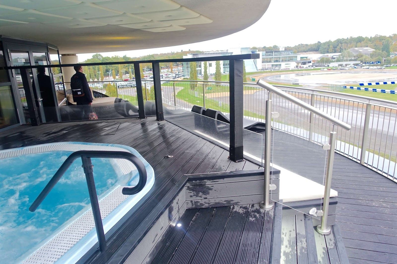 hot-tub overlooking Mercedez Benz World