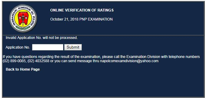 VERIFICATION OF RATING NAPOLCOM exam