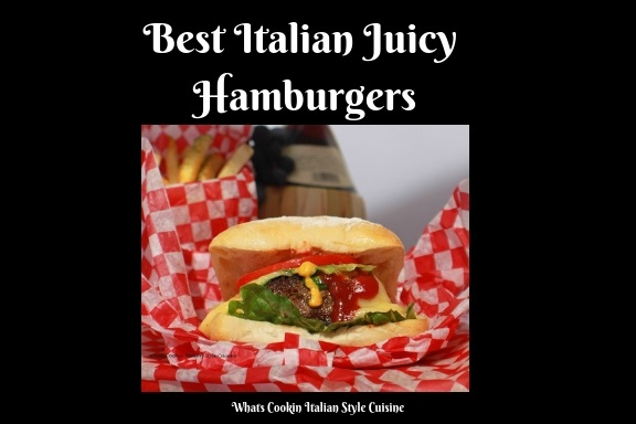 this is an Italian seasoned beef burger in a ciabatta bread roll pillow soft hamburger better than any fast food burger. This burger has lettuce tomato condiments, cheeses, and sitting on old fashioned white and red checkered wax paper