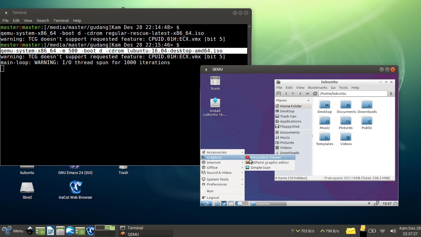 Running 64Bit GNU/Linux ISO using QEMU VM on A Non-VT Laptop