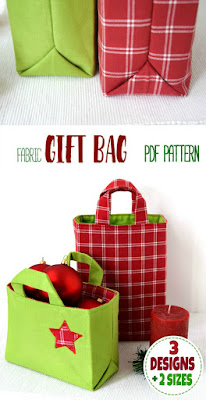 Fabric gift bag pattern in 6 variants. It's perfect to hold all your Christmas gifts. The PDF sewing pattern has detailed step-by-step instructions with lots of photos, tips and a Sew-to-Sell license. Check out this great Christmas sewing project!