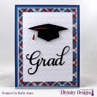 Divinity Designs Paper Collection: Old Glory, Custom Dies: Grad, Double Stitched Rectangles, Embossing Folder:  Fish