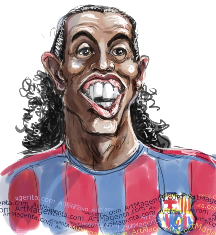 Ronaldinho caricature cartoon. Portrait drawing by caricaturist Artmagenta
