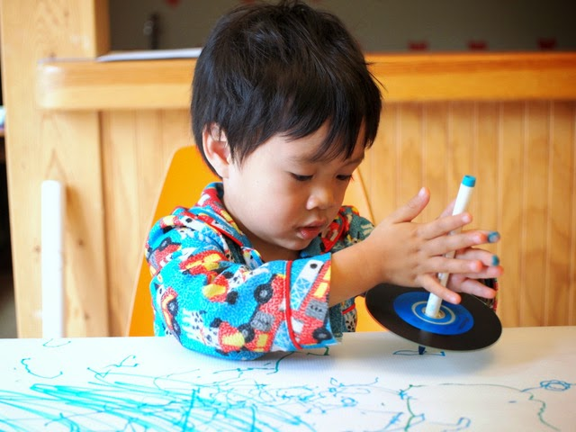Mix science and art with this great activity!  Simply spin the markers and watch them go!