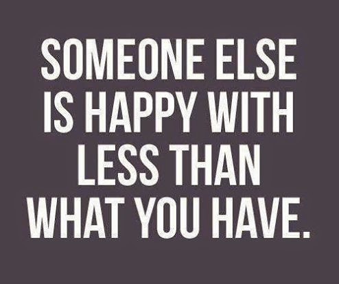 Happy with less than what you have