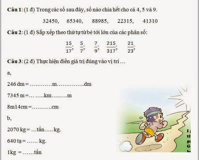 Đề kiểm tra toán lớp 5 học kỳ 2