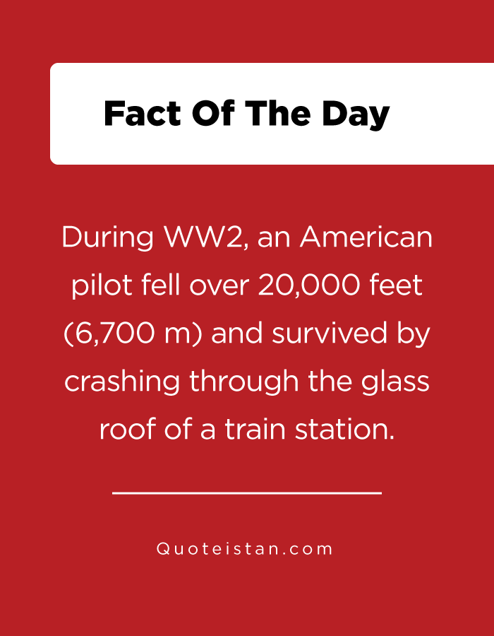 During WW2, an American pilot fell over 20,000 feet (6,700 m) and survived by crashing through the glass roof of a train station.