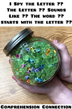 Letter Bead Jars are a great way to review letter names and sounds. You can also put small plastic figures in to work on sounds as well. This post includes many ideas for alphabet fun!