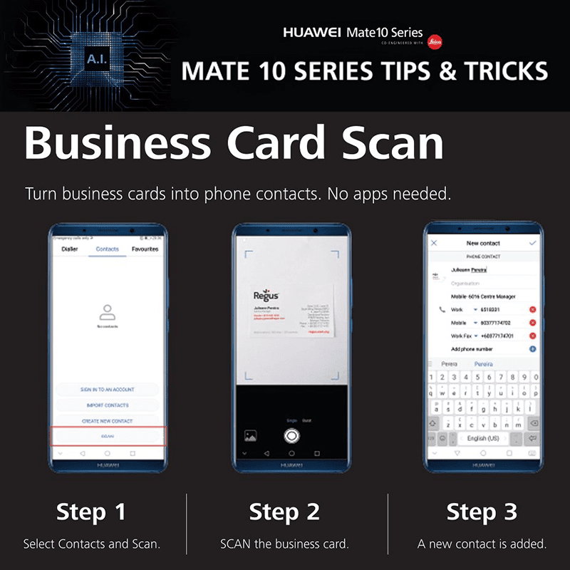 Business card scanner feature