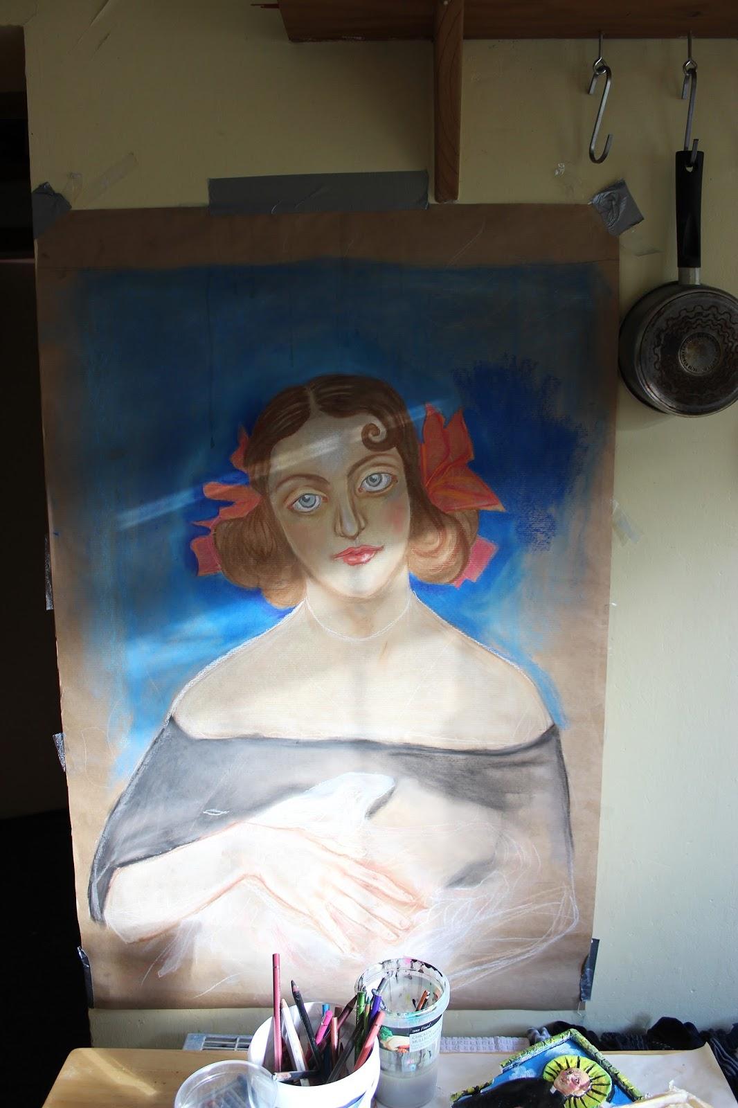 Pastel Brown Paper Sketch Woman Work in Progress