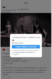 insertar una publicación de instagram