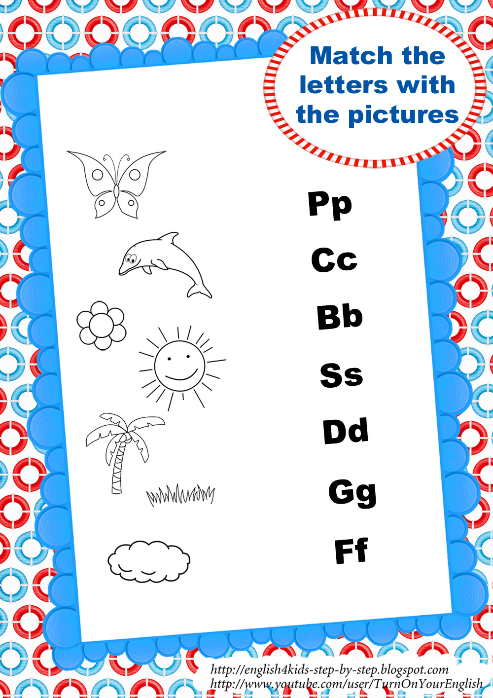 Workbooks matching letters worksheets : Summer Song for Kids