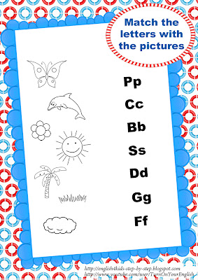 summer song worksheet matching letters and pictures