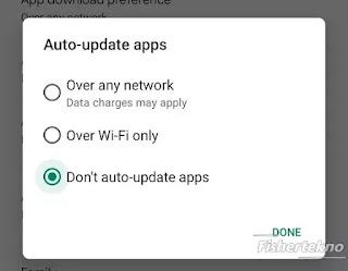 Pilih jangan update otomatis