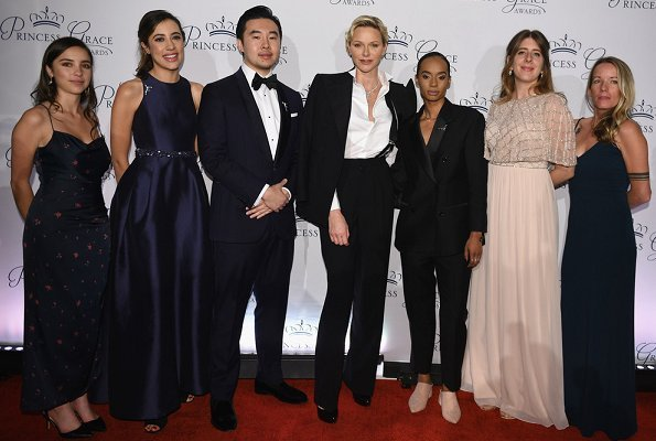Princess Charlene and Pauline Ducruet attended 2018 Princess Grace Awards Gala at Cipriani in Broadway. Charlene wore Akris blazer