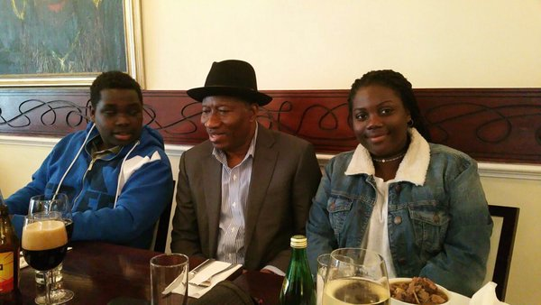 EX-President Goodluck Jonathna outing with his children  Ariwera and Aruabai in london