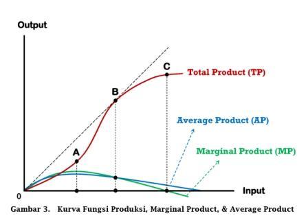 Hubungan antara Kurva Fungsi Produksi, Marginal Product, dan Average Product - www.ajarekonomi.com