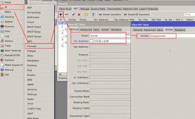 Menambahkan NAT agar user pppoe dapat terkoneksi ke internet
