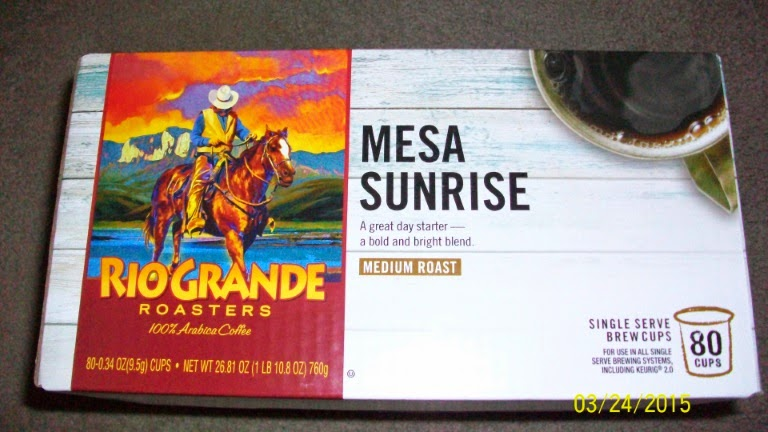 Mesa Sunrise coffee from Rio Grande Roasters (made by the Trilliant company). Got myself an 80-pack on sale.
