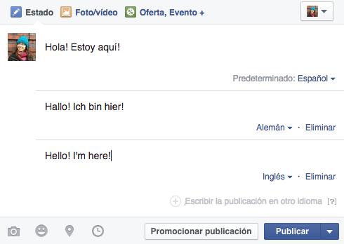 publicar varios idiomas facebook