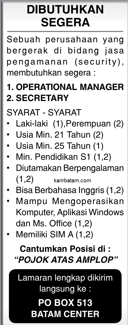Lowongan Kerja PO BOX 513 Batam Centre
