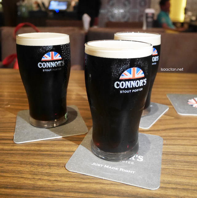 The highlight of my night, half pints of Connor's Stout Porter for all!