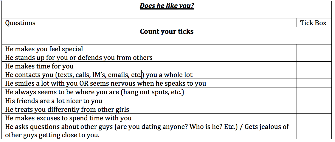How to tell if a guy likes you: Does he like me quiz / checklist